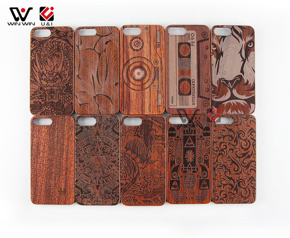 Original holz handy case ui echt naturholz mit figur muster stoßfest schutzhülle case für iphone 6 6 plus 7 8