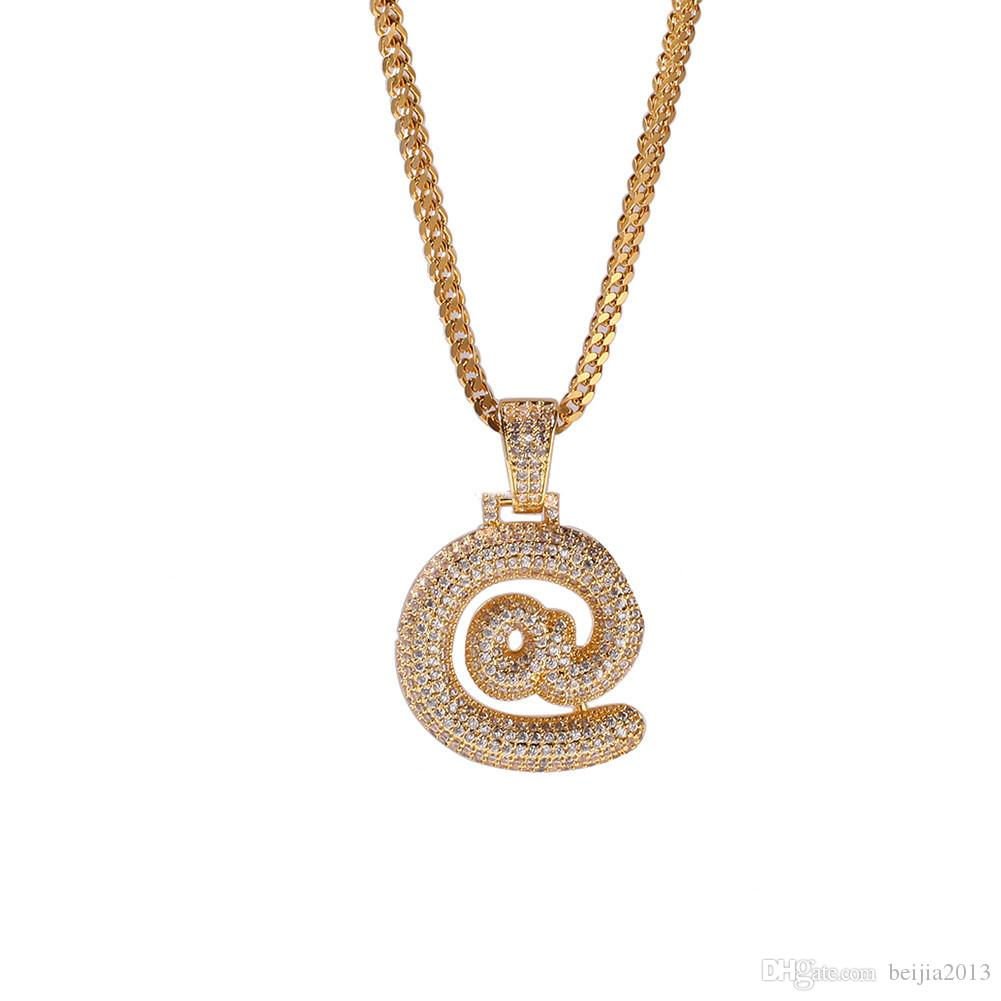 Tennis, absolvierte Bügel-Tropfblase US-Dollar @ #? Symbol Kette Halsketten Anhänger Für Männer Frauen Gold Farbe Kubikzircon Hip Hop Schmuck