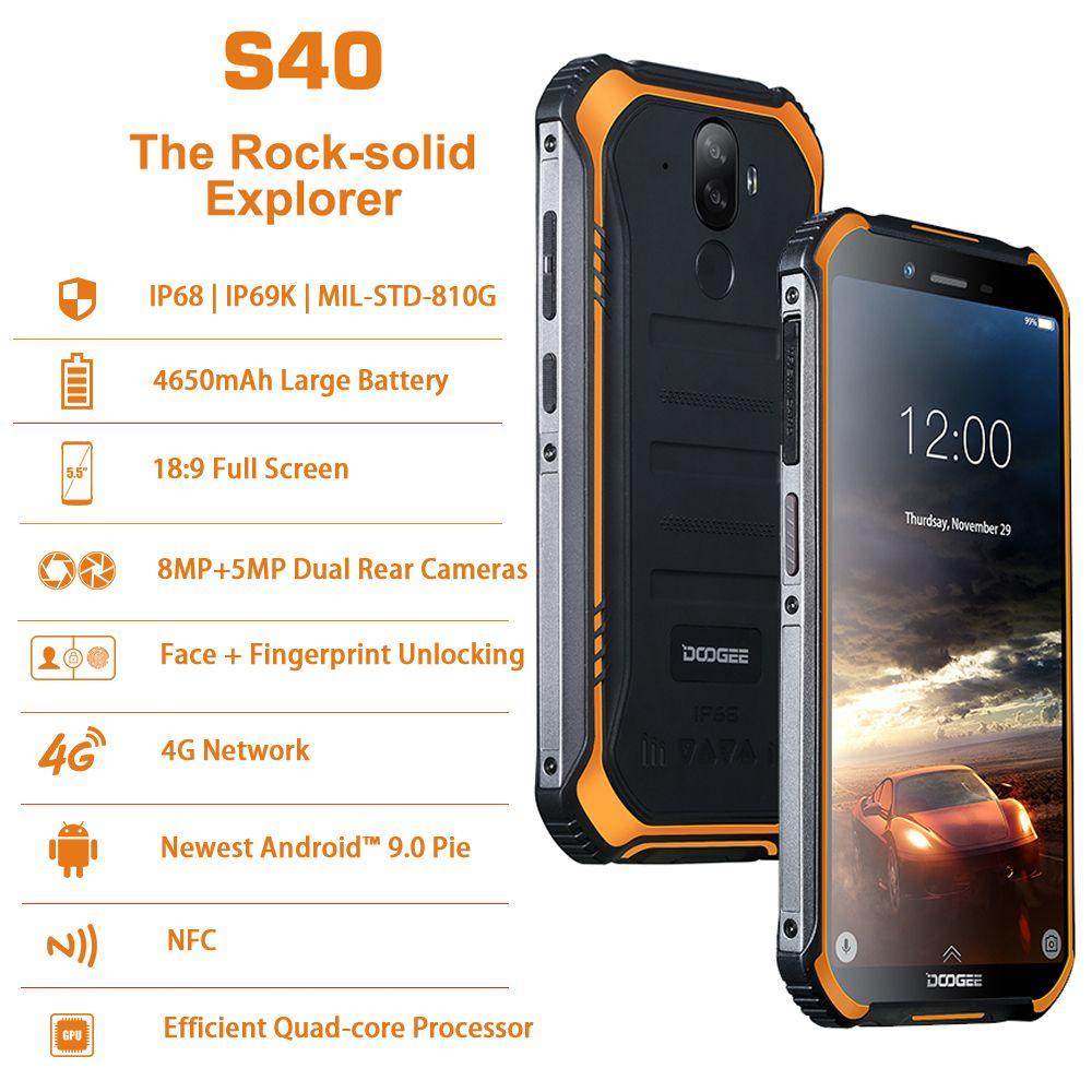 DOOGEE S40 Android 9.0 Rugged Mobile Phone 5.5inch 4650mAh MT6739 3GB RAM 32GB ROM 8.0MP IP68/IP69K Fingerprint 4G Smartphone