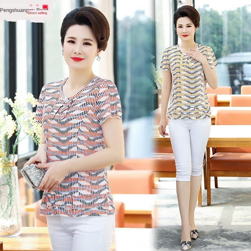 verano de las mujeres T- de mediana edad y ancianos de manga corta camiseta de gran tamaño superior 40-50 de la madre de mediana edad 2020 pequeña camisa