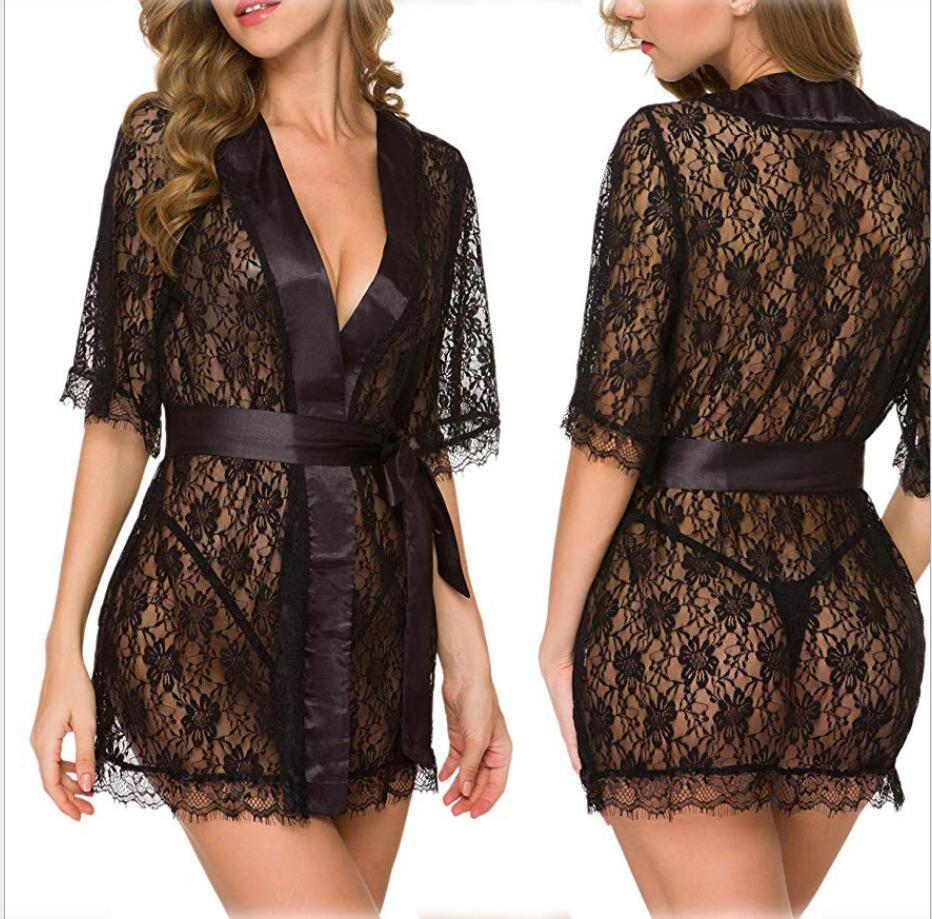 Sexy Lingerie érotique Hot Plus Size Langerie Kimono Robe en satin noir pour les femmes de nuit Pyjama Baby Doll G Chaîne