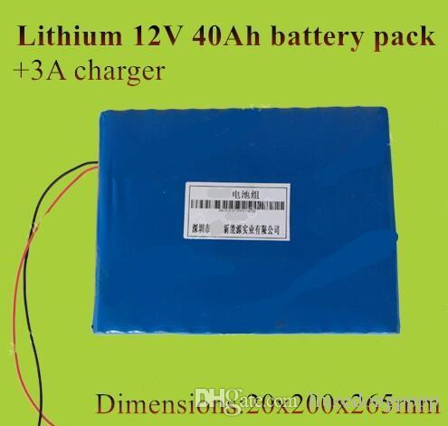 Fina 12 V 40Ah bateria de lítio 12 v li-ion pack para o armazenamento de energia da fonte de alimentação não lifepo4 40ah + 3A carregador