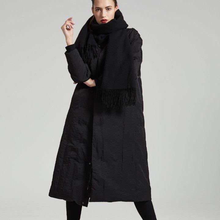 2018 Nuovo Autunno Inverno pista completa scialle manica collare di modo delle donne nero addensare caldo piumino Donne marea moda