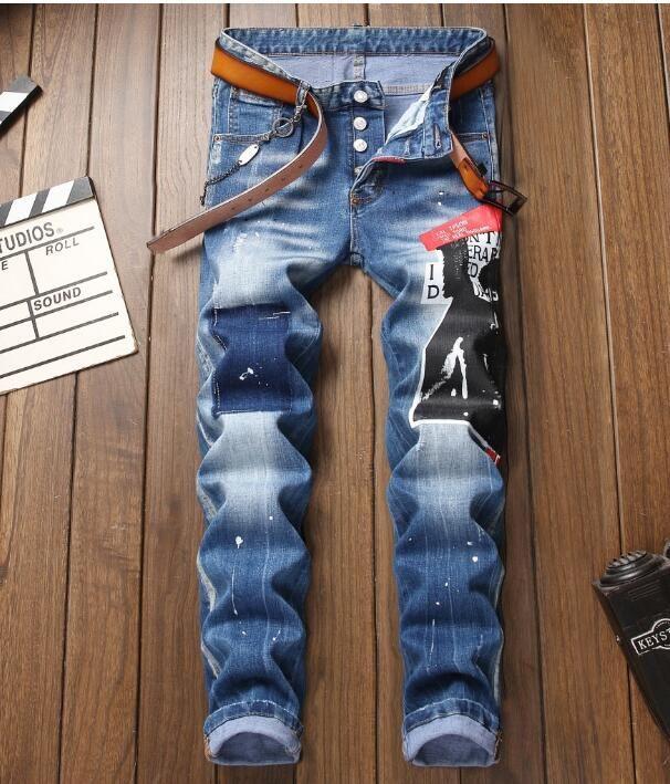 Schlanke Stretch hochwertiges Loch Europa und die Vereinigten Staaten maler gedruckte kleine gerade Jeans ..