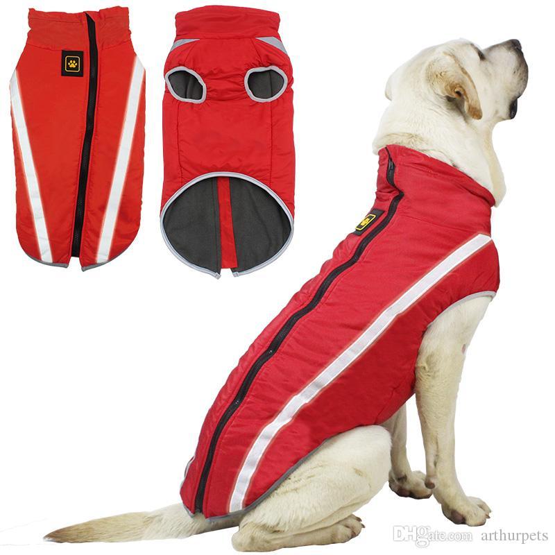 كلب الثلج سترات ملابس للماء للكلاب الكبيرة شتاء دافئ كبير الكلب جاكيتات مبطن معطف الصوف الحيوانات سلامة عاكس تصميم الكلب الملابس