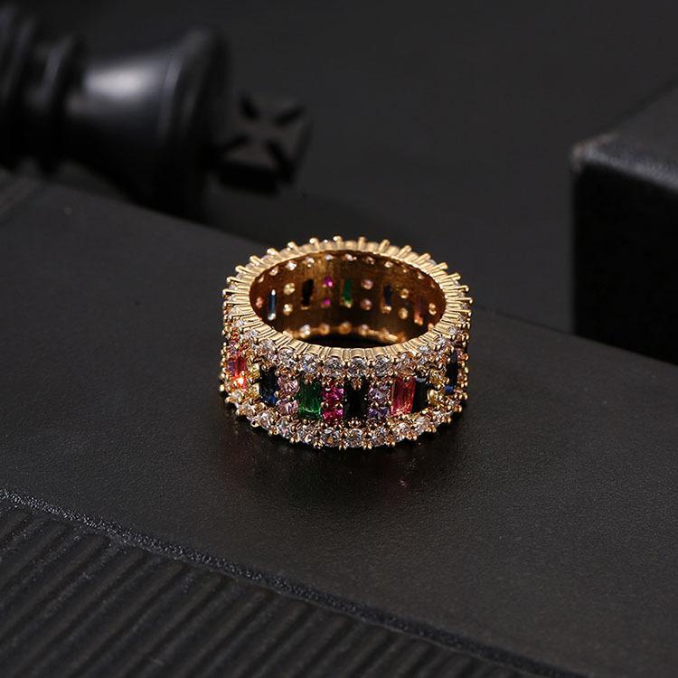 Casamento anel de ouro Mulheres Homens 6-9 banhado a ouro do arco-íris Anéis amor Micro pavimentada 7 Cores Flor casal jóias presente