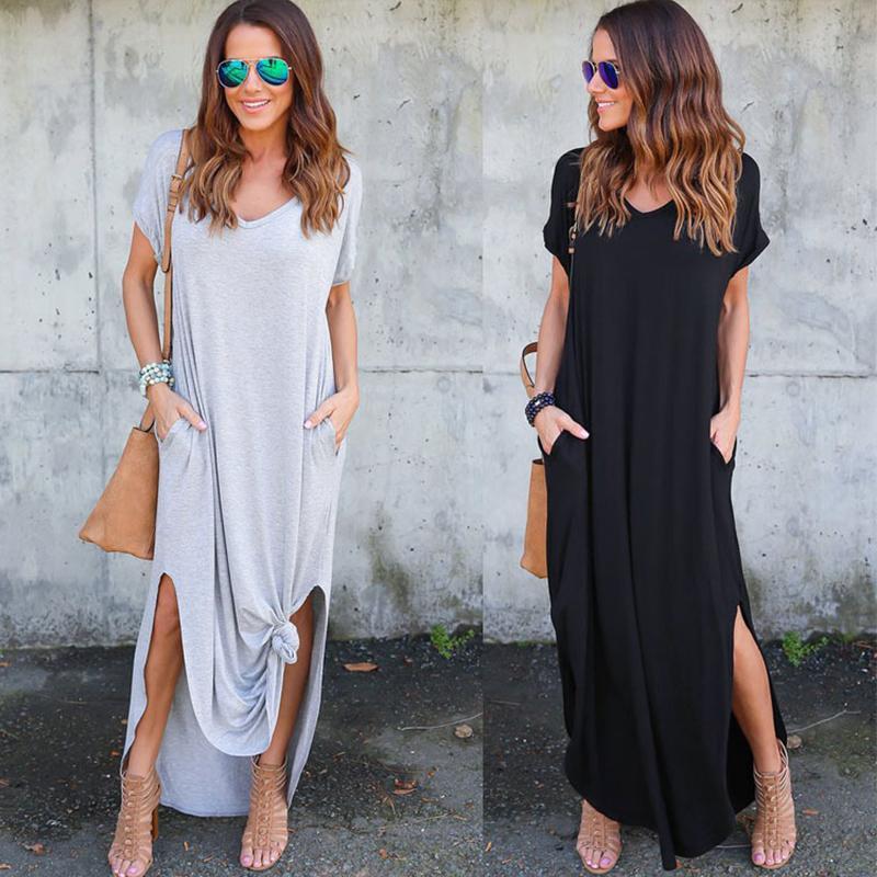 2019 Women's Casual Loose Pocket Long Dress Women Short Sleeve Long Dresses Women T Shirt Dress Solid Color Vintage V-neck