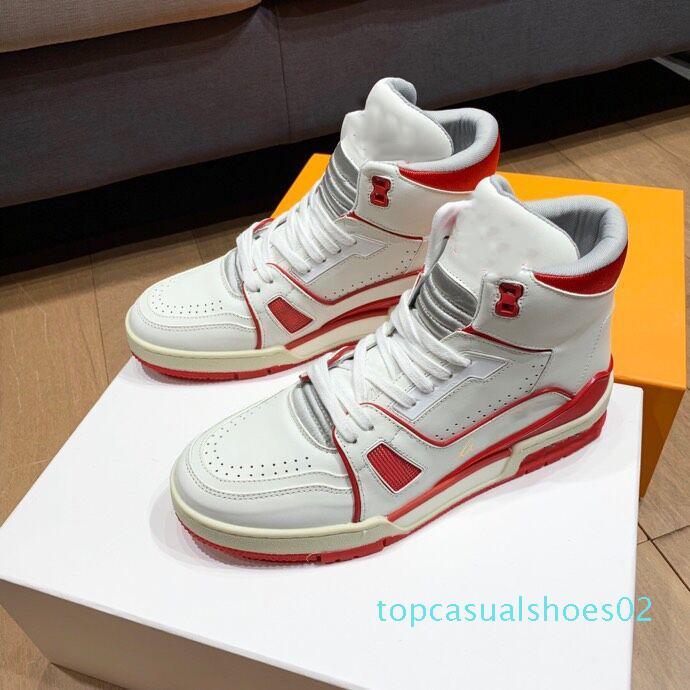 Pelle Des Chaussures Rosso Bianco Pelle Triple Sneaker uomini di alta scarpa da tennis delle donne Vintage scarpe di lusso scarpe piane Lace-Up Stella Fiori t02