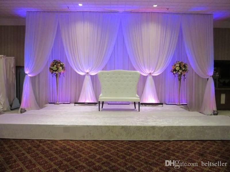 Hochzeit Dekorationen 3 * 6m (10ft * 20ft) Eis Seide Hochzeit Vorhang Hintergründe mit weißen draps für Hochzeit Baby Shower Party Requisiten liefern