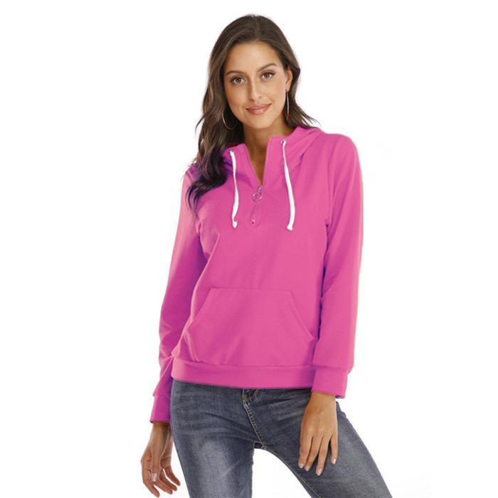 Herbst-Frauen Zipper Hoodies Pullover Langarm-beiläufige Frauen Sweatshirts Solid Color Mode schlanke Damen Hoodies Tops