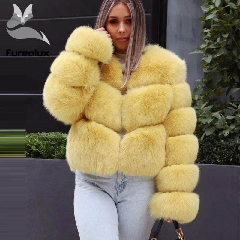 2020 New Real Fur Coat Short Style For Women Hot Sale Yellow Thick Winter fur Full Sleeve O-neck Outwear Jackets