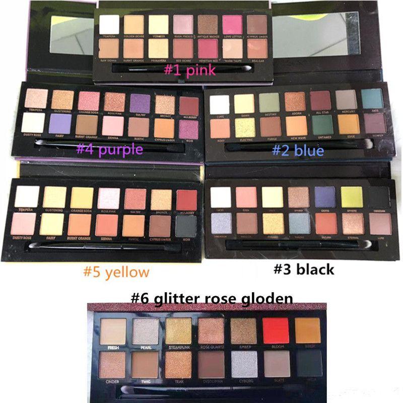 Stocking !! Makeup Palette 14colors Modern eyeshadow Palette 6styles Limited ظلال العيون لوحة مع فرشاة بواسطة Epacket