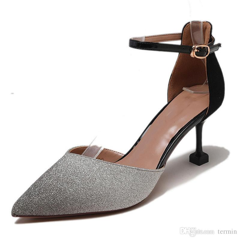 Spring New Womens Sequined High Heel