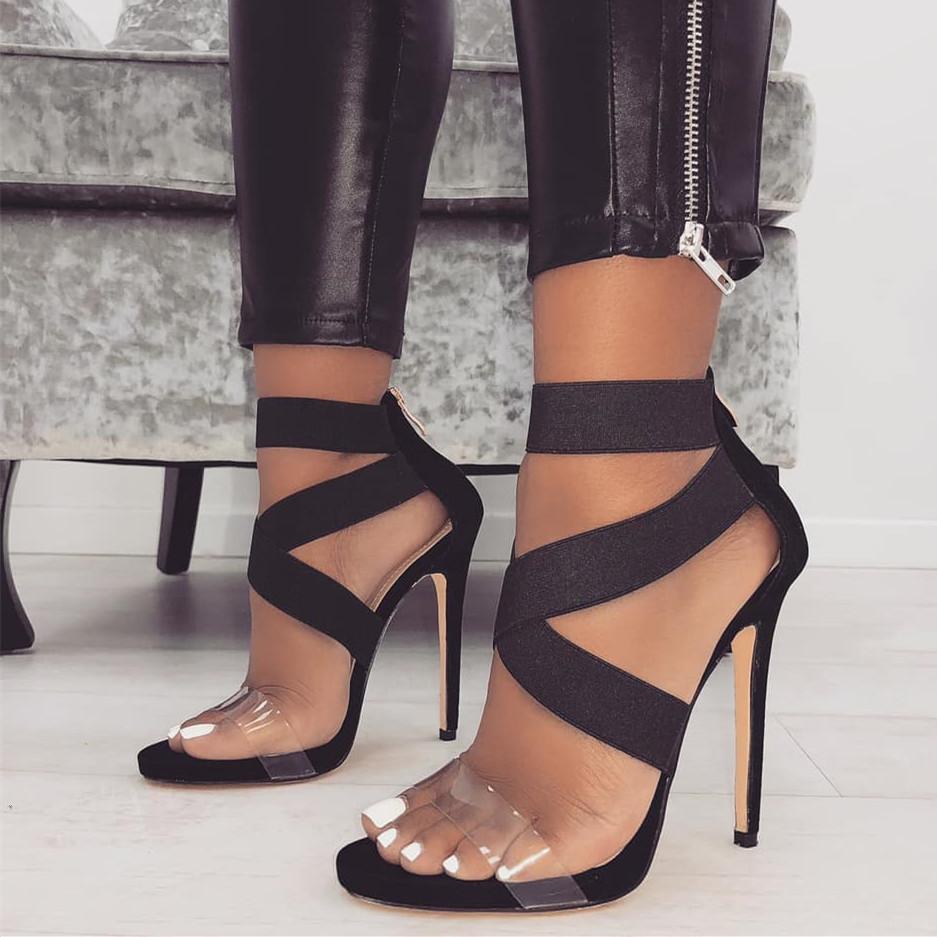 Nouveau patchwork élastique chaussures croix talons hauts moulants femmes chaussures taille 35 à 40