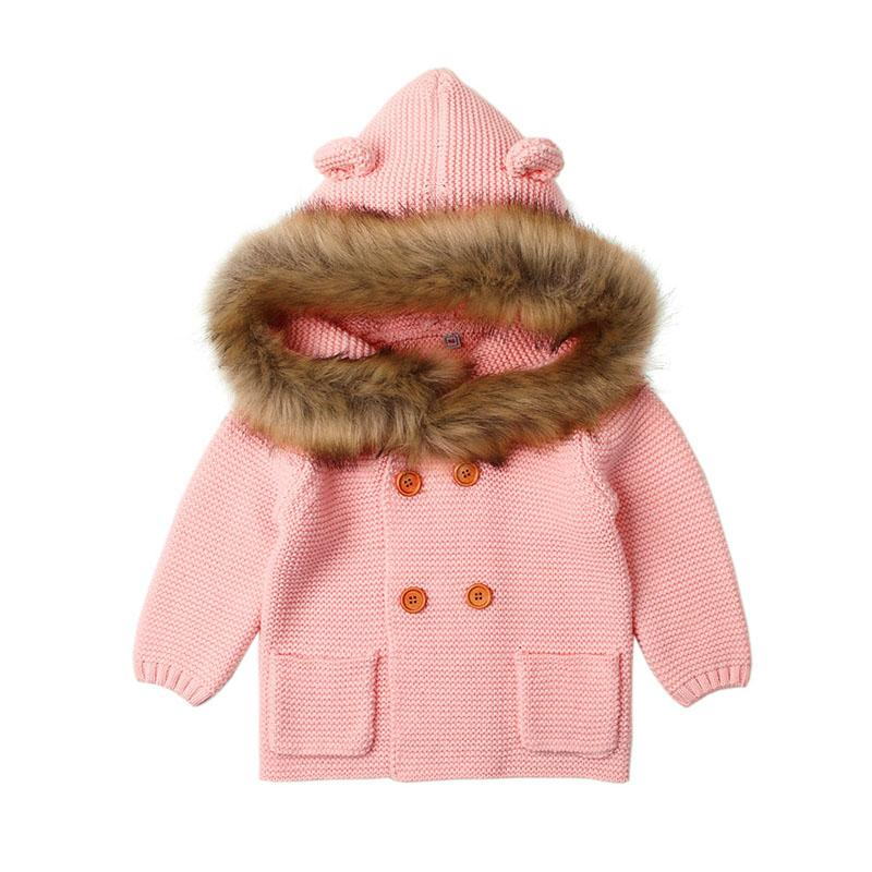 baby girl boy's knitted sweater japanese style winter girl boy baby hooded children jumper with fur collar pocket ears