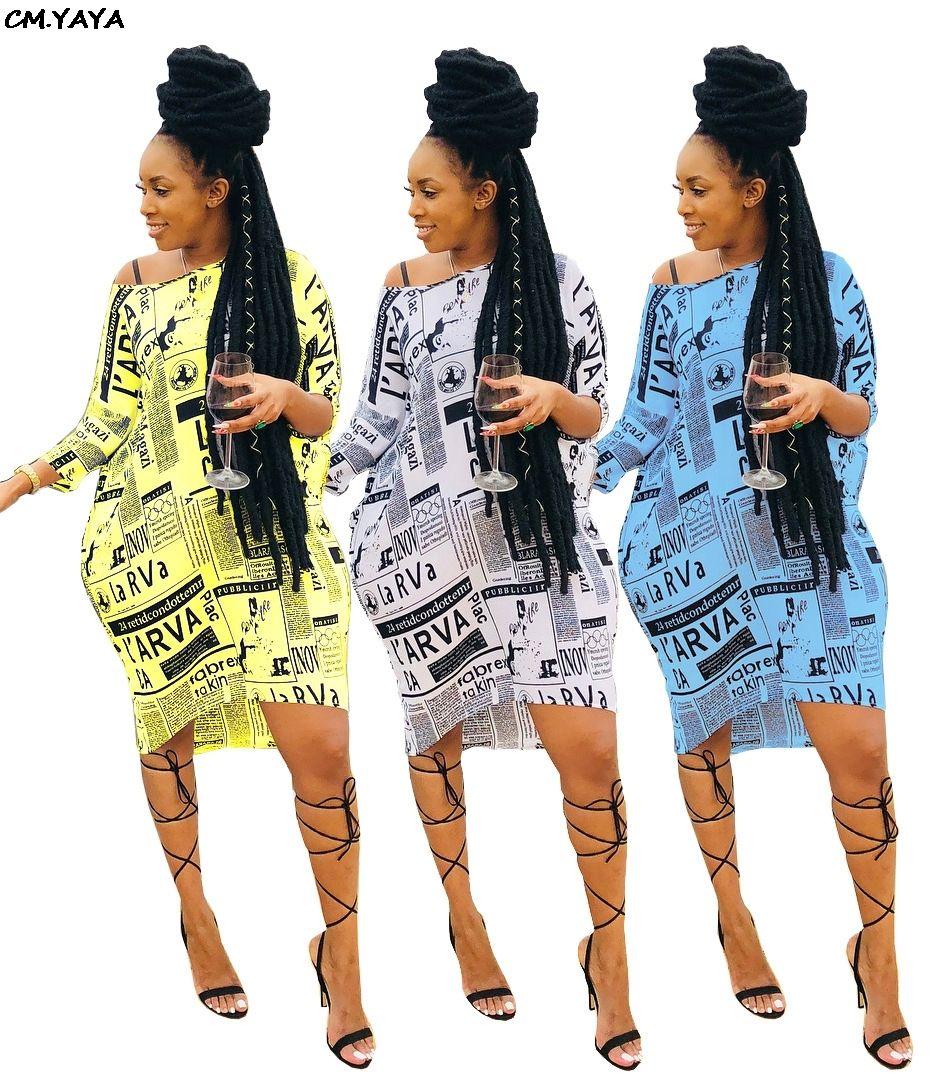 2019 nuevo periódico verano de las mujeres del vestido longitud de la manga de la rodilla de la muñeca del hombro vestidos de moda casual VESTIDOS de 3 colores GLA5017 T200614