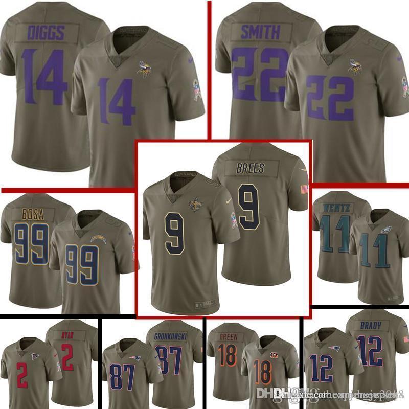 sale retailer 517bd 33d7b 2019 2017 Salute To Service Minnesota Vikings Jersey Mens 14 Stefon Diggs  22 Harrison Smith Football Jerseys 9 Drew Brees 99 Bosa From ...