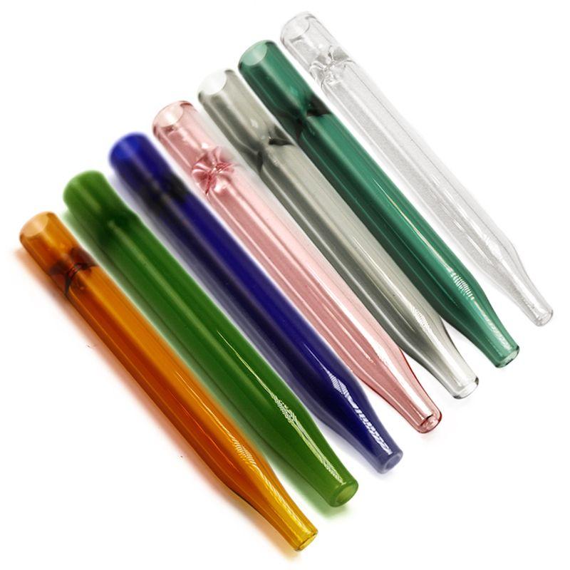 Filtre en verre coloré en gros 11.7cm Épaisseur du tuyau de brûleur à mazout Tube en verre En verre feuilleté Feuilleton du tabac Tuyau Main Brûleur à mazout pour fumer DHL