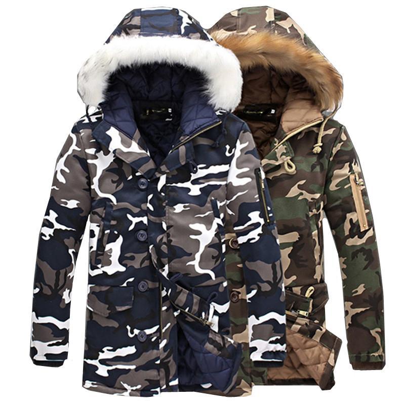 위장 파커 남성 망 중형 긴 겨울 코트 따뜻한 코튼 패딩 자켓 남성 모피 칼라 후드가있는 깃털 이불