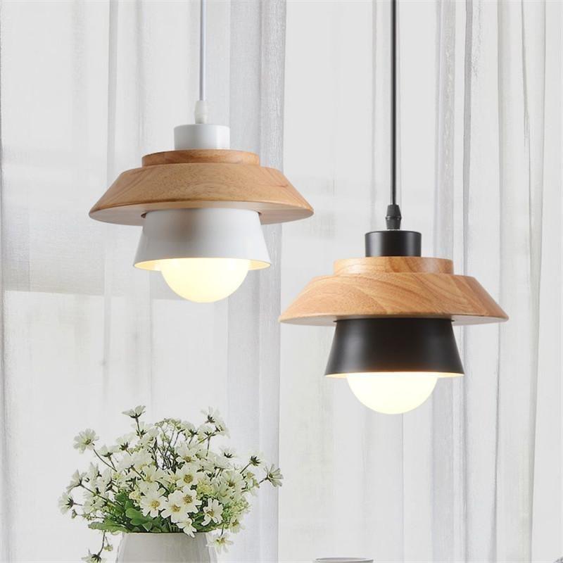Современные подвесные светильники спальне прикроватные лампы Подвеска Алюминий Дерево Hanglamp светильники Внутреннее освещение Luminiare Лампы