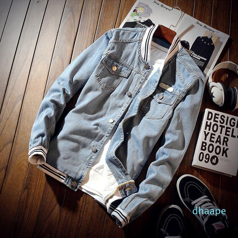 Moda Giacca di jeans e Cappotti Primavera Autunno Maschio Giacca Pilota Denim mens giacche casual Bomber Baseball Abbigliamento Uomo