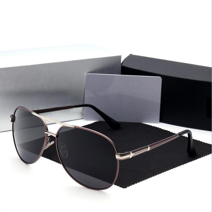 2020 gafas de sol de lujo de calidad polarizadas Hombres Mujeres piloto gafas de sol UV400 Gafas conductor metálico superior gafas de sol redondas