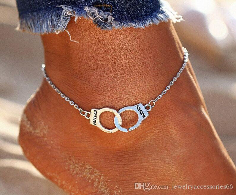Горячие продажи старинные серебряный цвет наручники ножные браслеты для женщин Богемная Свобода лодыжки браслет на ноге босиком партия ювелирных изделий