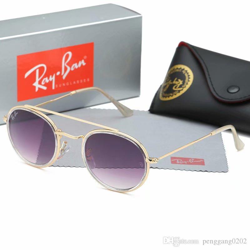 Primera marca gafas de sol de alta calidad de metal Bisagra Gafas de sol Hombres Mujeres de los vidrios Gafas de sol UV400 lentes unisex con casos y cuadro