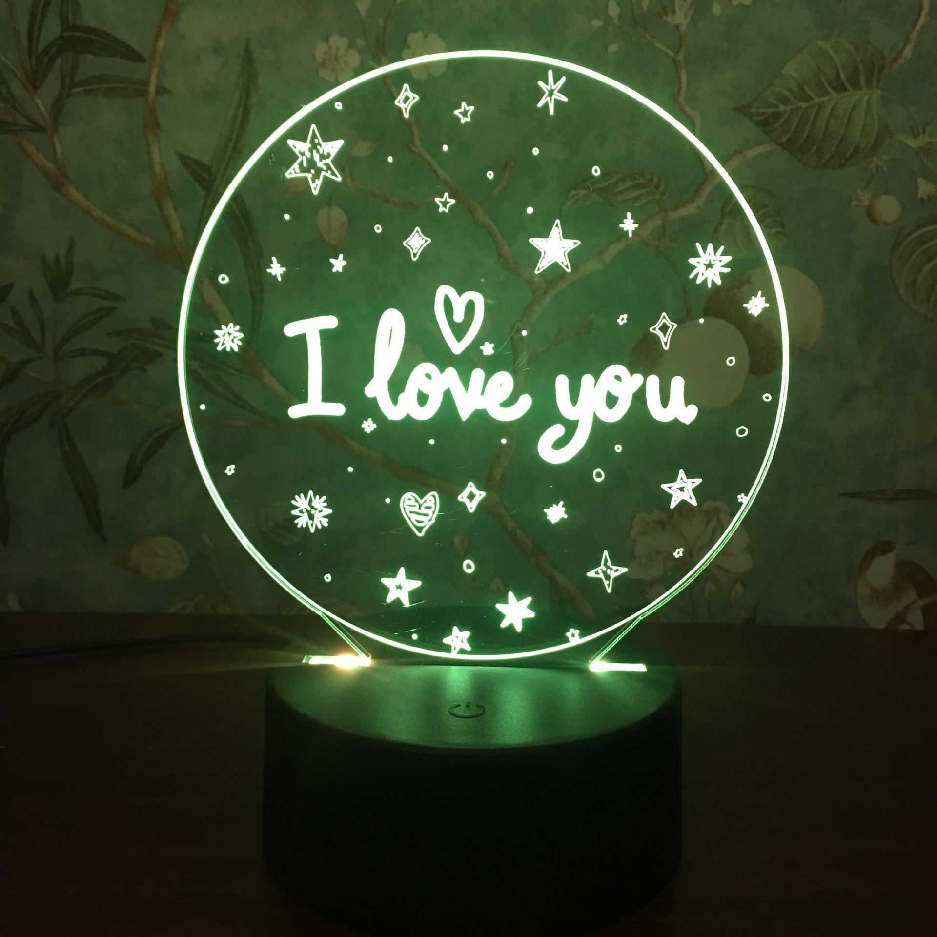 새로운 이국적인 3D 밤 가벼운 터치 다채로운 창조적 인 선물 발렌타인 데이 선물 I LOVE YOU LED 테이블 램프