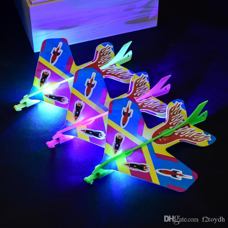 DIY Cool Flash Ejection Cyclotron Light Plane Glowing Slingshot Aircraft For Kids Gift Flying Airplane Toys
