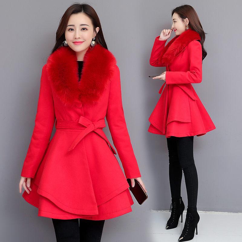 Новый 2019 осень зима шерстяное пальто Женщины Длинные Элегантная мода полушерстяные пальто Женщины Юбка Стиль Большой Шубы Outwear f1764