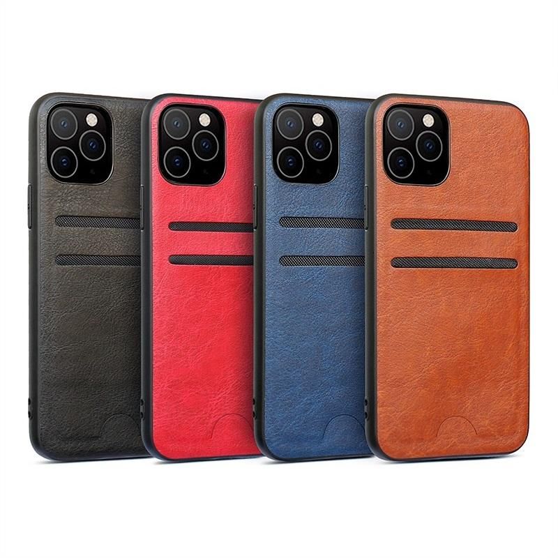 Nouveau pour iphone 12 mini pro 11 x xr xs max 8 7 6 plus cuir téléphone cas avec emplacements pour cartes de crédit simple, couverture de caisse mince créateur de mode