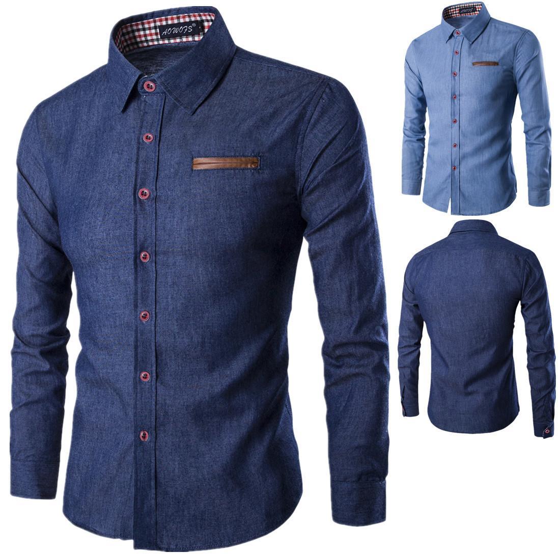 2019 nouveaux vêtements pour chemise en jean hommes chemise à manches longues hommes marque un jean slim jeans hommes chemise camiseta masculina