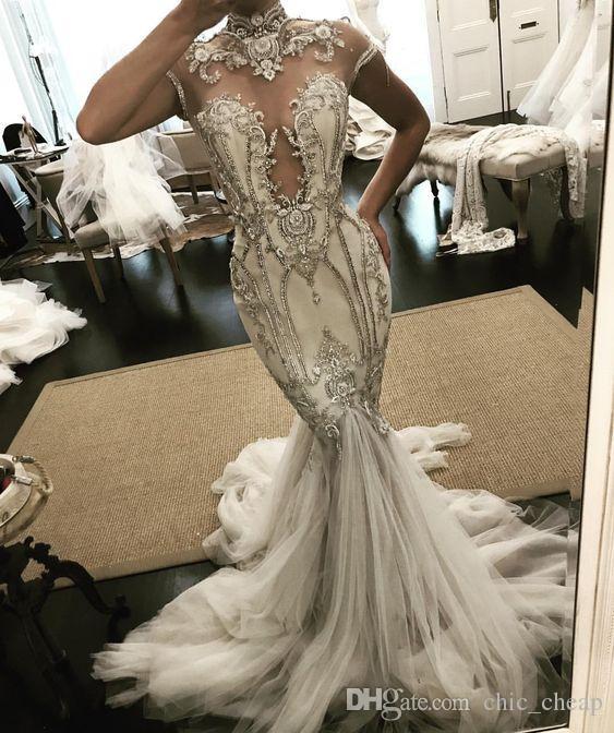 Kristalle Spitze Arabisch 2019 Brautkleider High Neck Cap Sleeves Mermaid Brautkleider Luxuriöse Sexy Brautkleider