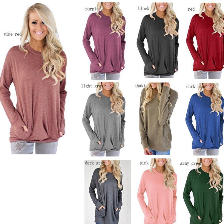 Frauen-runder Kragen-langes Hülsen-T-Shirt-weibliches Taschen-Dekorations-T-Shirts lösen beiläufige T-Stücke dünne Tunika-Oberseiten mit Taschen GGA2532
