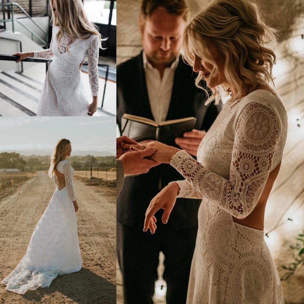 Discount Hot Sale Full Lace Bohemian Wedding Dresses Long Sleeves Lace Sexy Backless Boho Beach Bridal Gowns Vestidos De Novia Kate Middleton Wedding