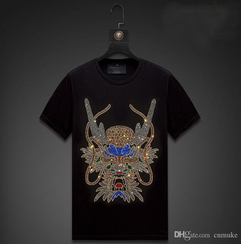 Streetwear Homens Diamonds Mens Verão Hip Hop soltas T Shirt Male Moda Tees Casual 8d Tops preto