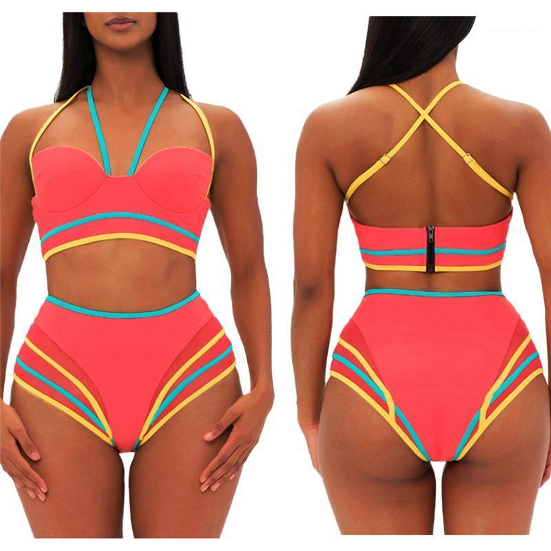 Womens Designer Bikinis poitrine Enveloppé taille haute Push Up Ladies Tankinis avec fermeture éclair Halter Bikini Patchwork bonbons couleur d'été