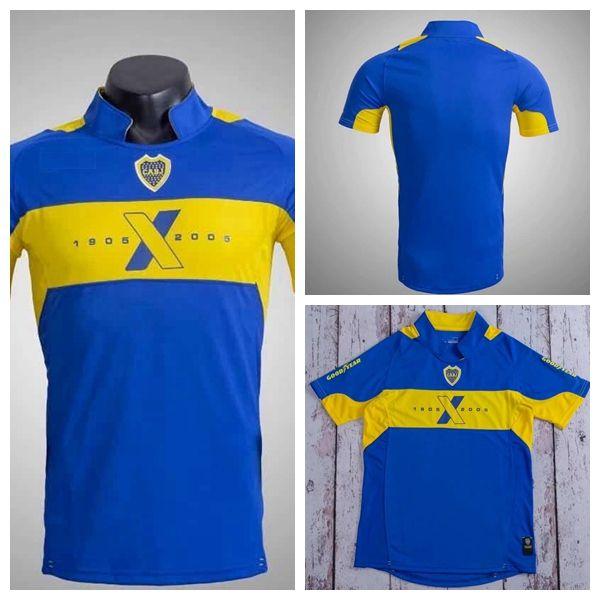 2004 2005 retro clásico boca juniors 04 jerseys del fútbol Diego Maradona uniformes 05 roman riquelme camiseta de fútbol de Tailandia de fútbol jerseys superiores