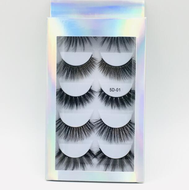 Laser Packaging 5 Pairs mink lashes set handmade reusable false eyelashes makeup accessories thick natural long 6 models available DHL Free