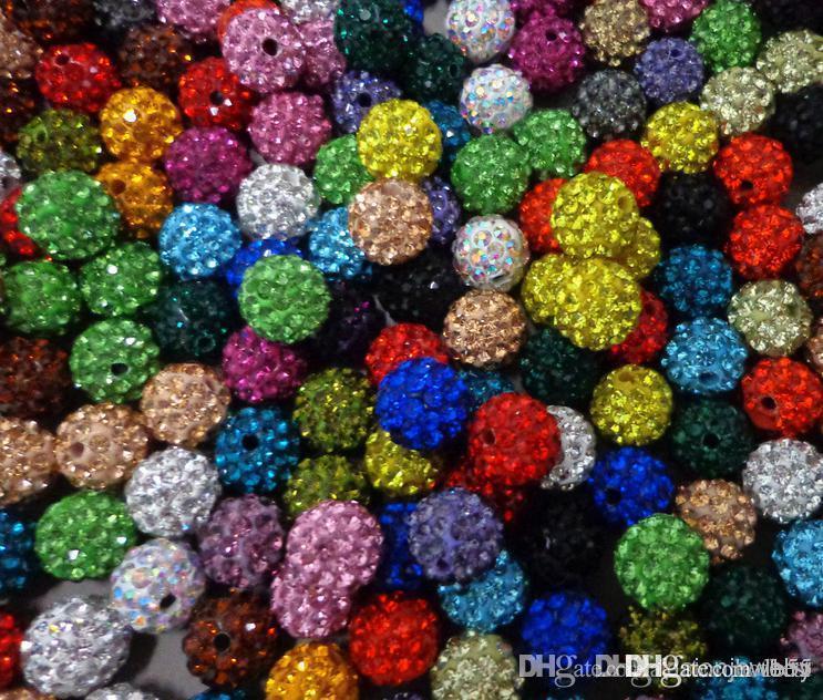 hotsale 200pcs 10mm / lot multi colore misto cristallo perline di collana del braccialetto Beads.Hot spacer perle Lot! strass fai da te u3535 W62