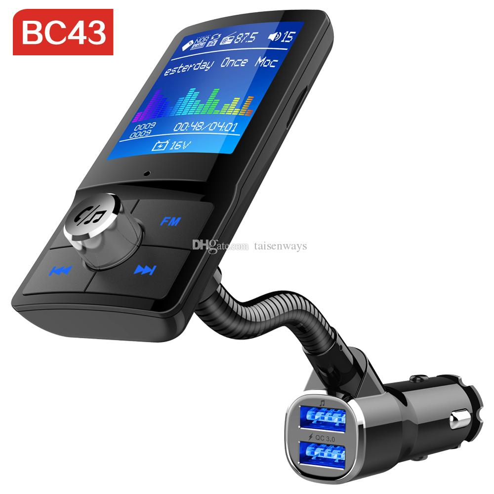 BC43 Bluetooth Transmissor FM Áudio QC3.0 Carregador USB Mp3 Player Sem Fio No Carro Mãos Livres Bluetooth Car Kit com Display LCD