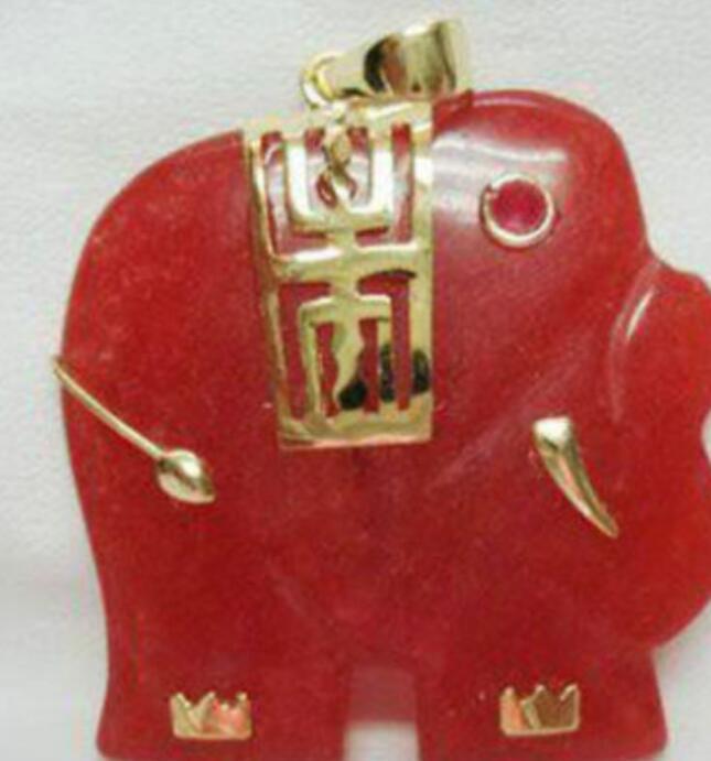 Colar Frete Grátis ++++ Jade Vermelho Pingente de Elefante Colar + Livre cadeia