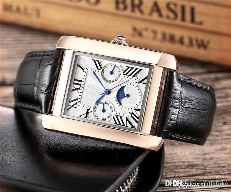 Sıcak Satış Lüks saatler Yeni Erkek kare izle tasarımcı saatler Deri Kayış Watch Ct Kuvars Erkekler İzle montre homme saatler