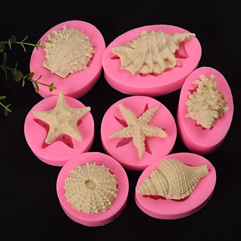 serie marina perla molde de silicona concha de caracol estrella de mar cáscara del mar 7 marina bio fondant hornada del molde