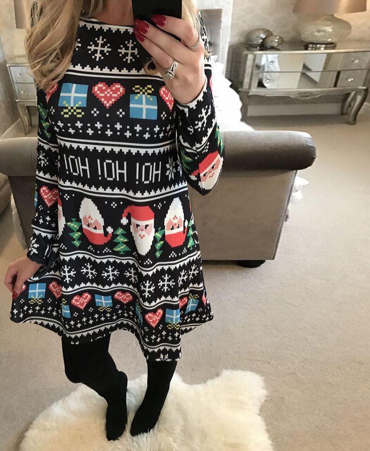 delle donne vestito mosaico designerPrinted Babbo Natale pupazzo di neve