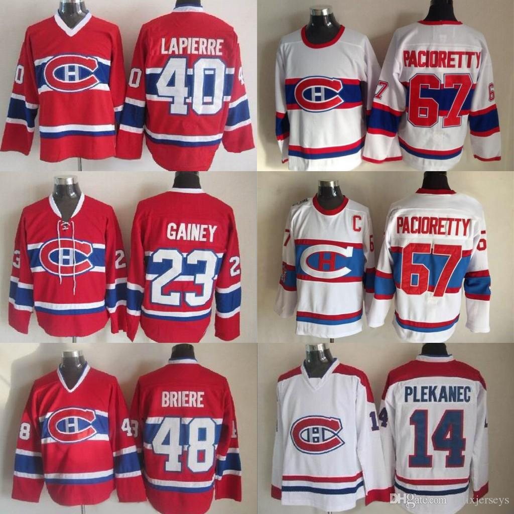 23 Bob Gaineg Montreal Canadiens 67 Max Paciorett 14 Tomas Plekanec 40 Laplerre 48 Brlere Hockey Jerseys