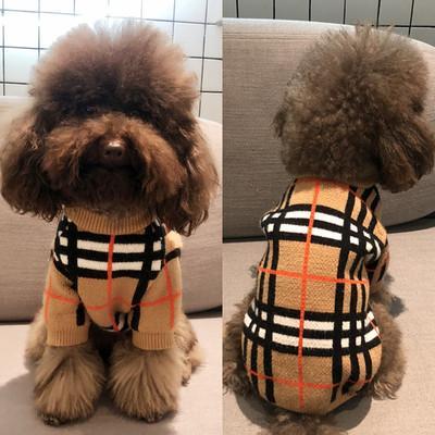 Teddy Clothes Grid Camisola Casual Cães de Algodão Inverno Malha Espessamento Casaco Pequeno Cães Poodle Pet Cat Na Moda Camisola