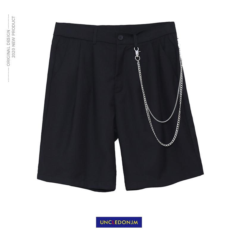 UNCLEDONJM Zinciri Dekoratif Şort Erkekler Moda Marka Dikey Düz Şort Streetwear Düz Diz Boyu NC-9844