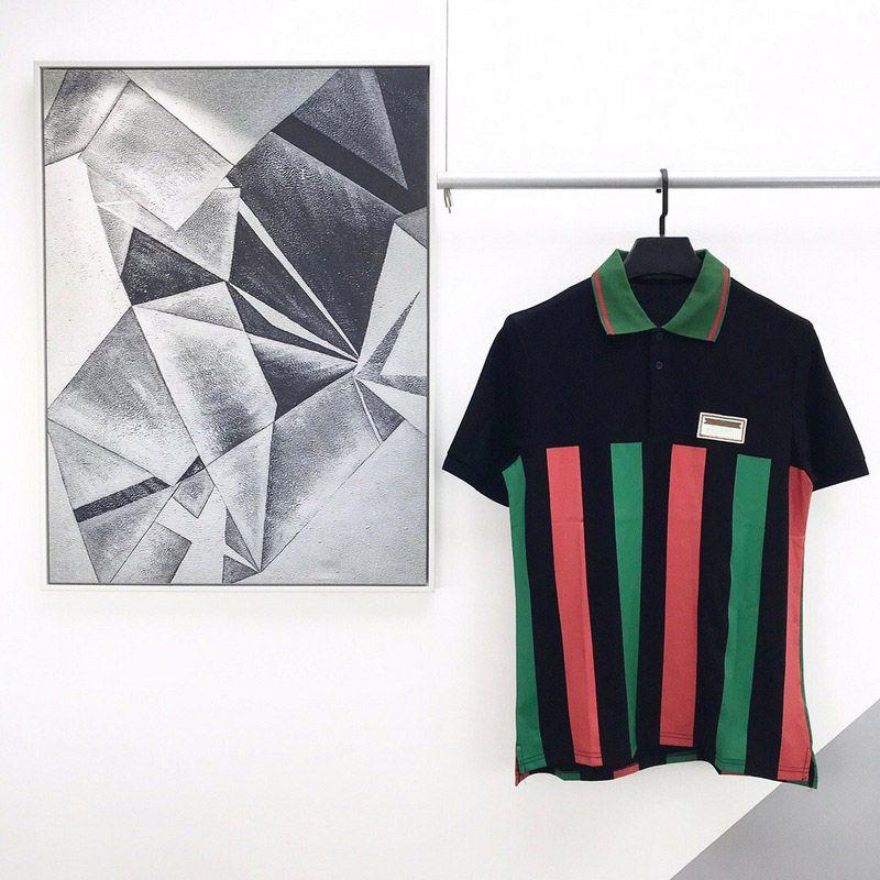 2020 여름 럭셔리 새로운 패션 파리 배지 로고 이탈리아 국기 스트라이프 유럽 폴로 티셔츠 남성 여성 T 셔츠 캐주얼 코튼 티 폴로